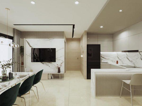 Mẫu tủ bếp Acrylic đẹp hình chữ L LAA05