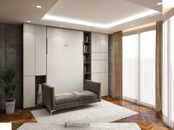 Giường thông minh gấp gắn tường kết hợp ghế Sofa Gray Stone Plus