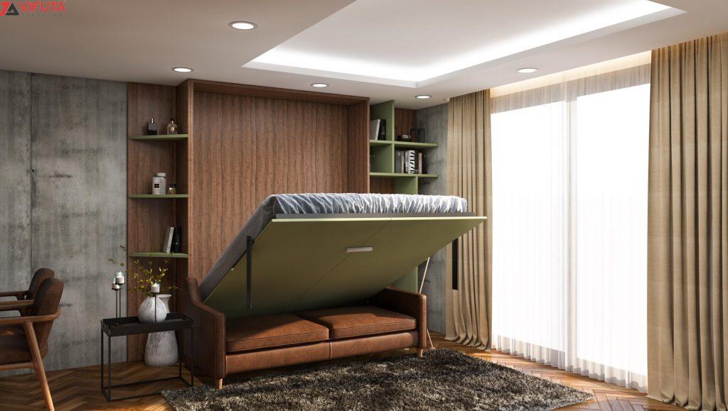 giường sofa gỗ gấp gọn thông minh - Choco Sweet