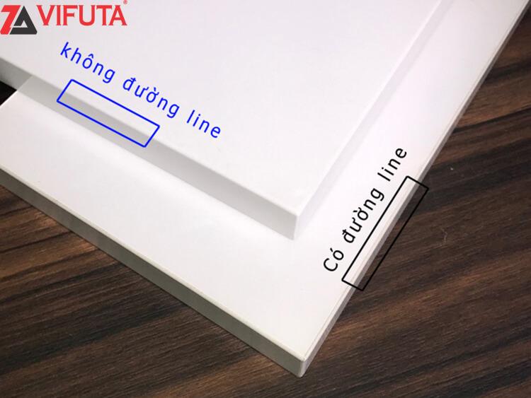 Các mẫu cánh gỗ của tủ bếp Acrylic UMA01 sử dụng công nghệ dán không đường viền mang đến độ thẩm mỹ cao hơn.