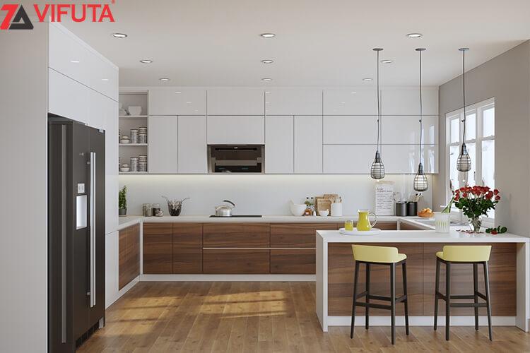 Mẫu tủ bếp Acrylic bóng gương màu trắng hình chữ U UMA01