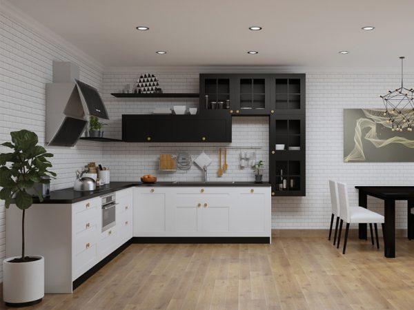 Tủ bếp gỗ công nghiệp chữ L hiện đại cho chung cư LSS08
