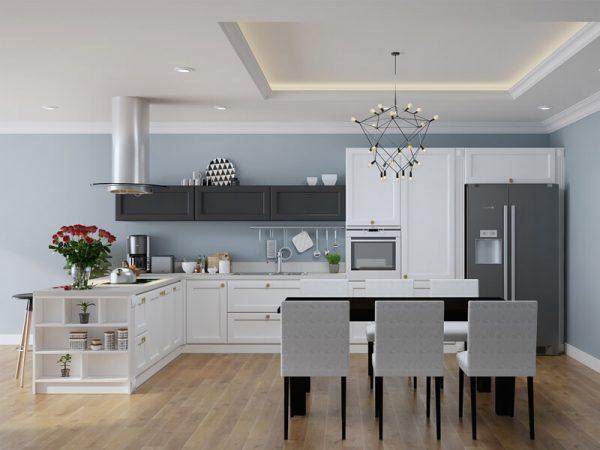 Tủ bếp gỗ công nghiệp đẹp sơn màu trắng hình chữ L LSS02