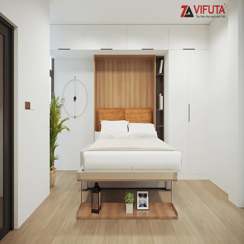 Giường gắn tường được làm từ gỗ công nghiệp MFC chống cong vênh, mối mọt