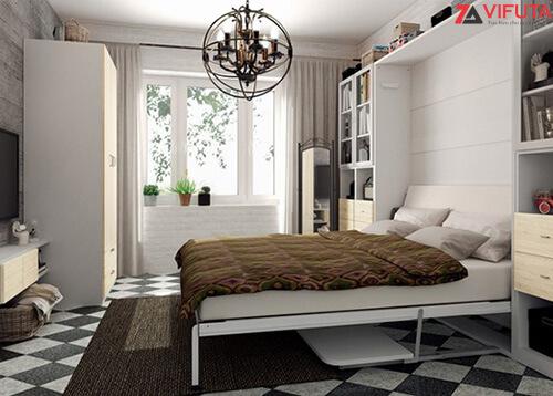 Mặt bàn học luôn được thiết kế song song với mặt đất nên khi hạ giường xuống đồ đạc vẫn không bị di chuyển