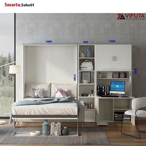 Bộ sản phẩm tủ Smarta.Soho01 có giường và bạn học sử dụng độc lập