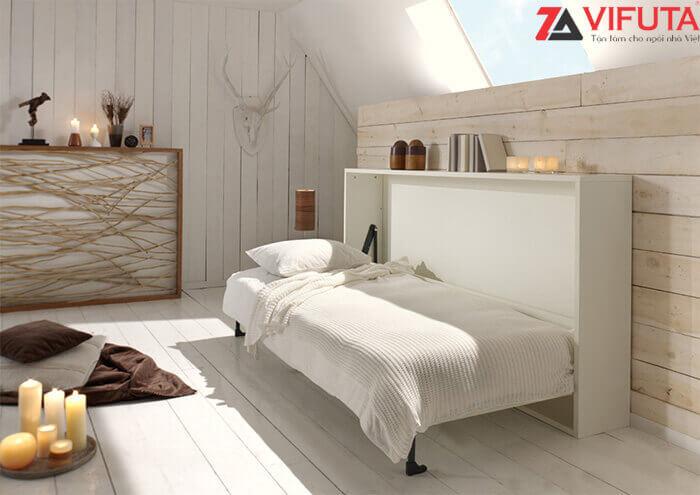 Mẫu giường ngủ gắn tường ngang H1200 – 333.H120MO dành dạng phòng có trần thấp