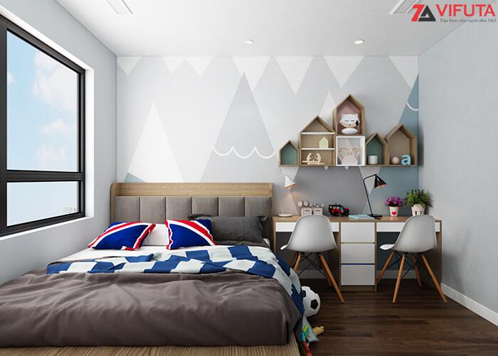Sơn tường và trần phòng ngủ nhỏ bằng các gam màu sáng để căn phòng trở nên sáng sủa