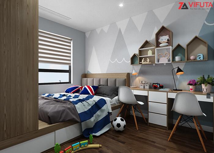 Các kệ tận dụng không gian trên tường để sắp xếp đồ đạc