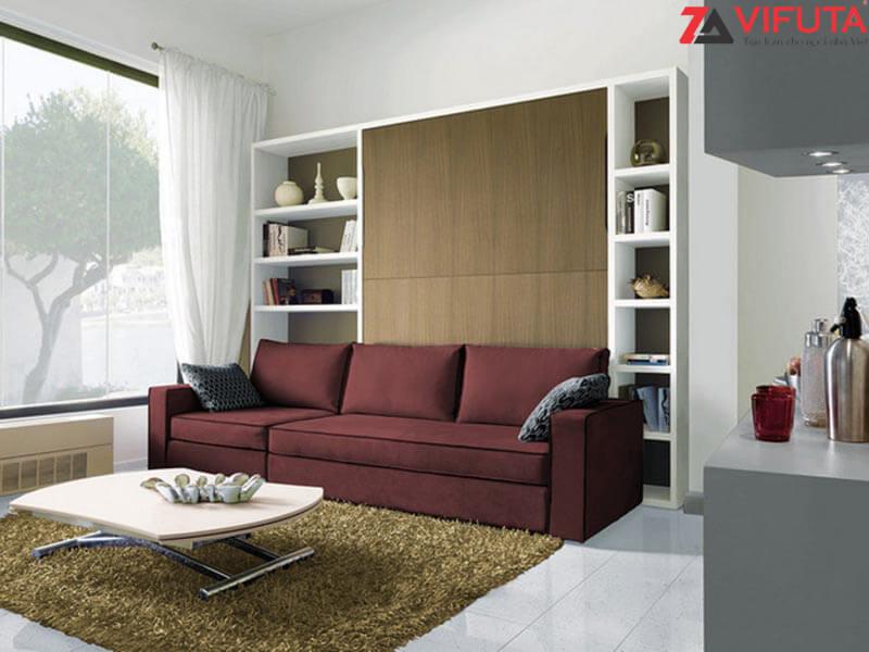Ở trạng thái đóng gấp, giường ngủ kèm sofa mang đến không gian phòng khách sang trọng, ngăn nắp