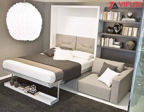 Mẫu giường thông minh kết hợp Sofa, kệ trang trí và giá sách