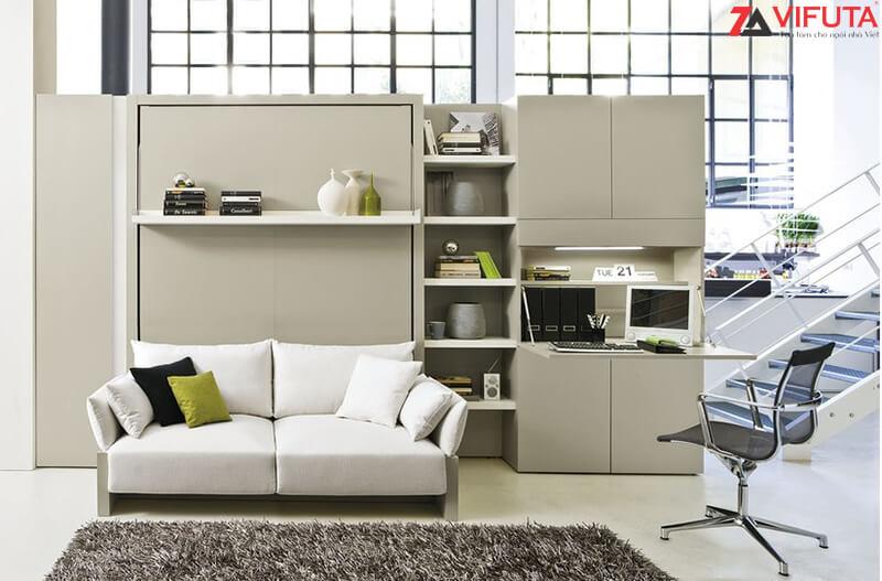 Bộ giường ngủ gắn tường kết hợp giá sách và bàn làm việc Smarta.Soho01