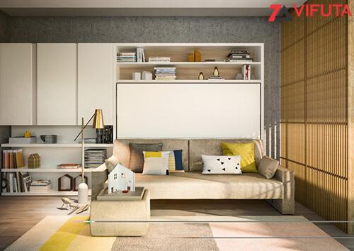 Giường gấp gắn tường thông minh kết hợp sofa có kiểu dáng đa dạng, màu sắc hiện đại
