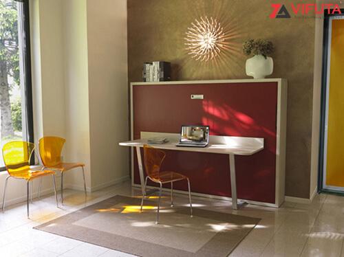 Giường gắn tường kèm bàn học dạng ngang H1200 – 333.H120DO dành cho phòng trẻ em
