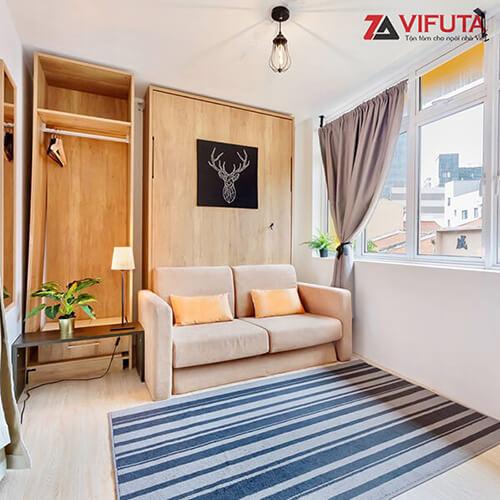Bộ giường gáp tường kèm Sofa nỉ vàng 333.V150SX