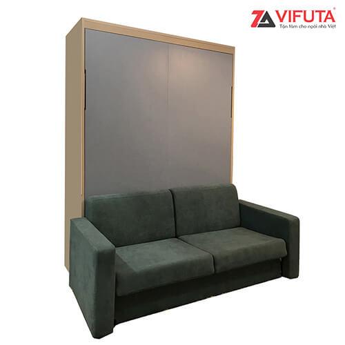 Giường gắn tường kết hợp sofa nỉ màu xanh 333.V150SX
