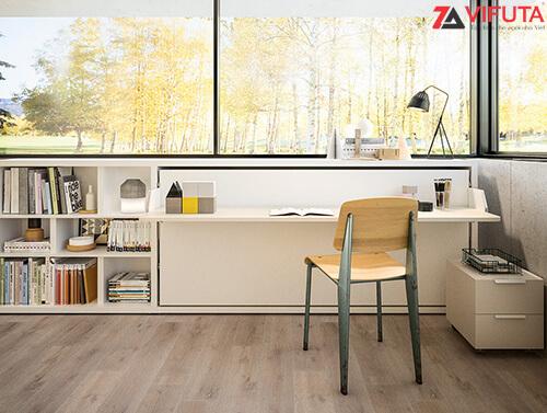 Giường có thiết kế nhỏ nhắn, tiết kiệm tối đa diện tích