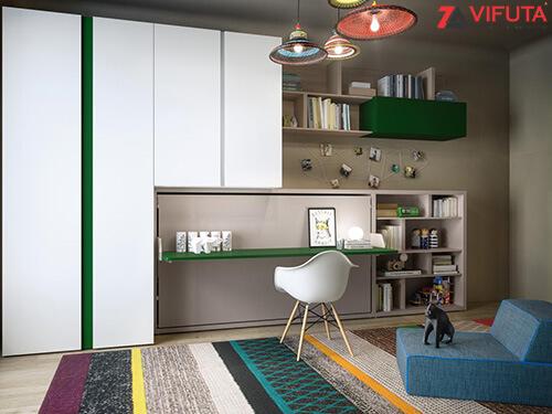 Giường gấp gắn tường kết hợp bàn học không chân thích hợp cho phòng trẻ em
