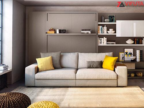 Nội thất thông minh có thiết kế gấp gọn sát tường nên cần bố trí sát các diện tường