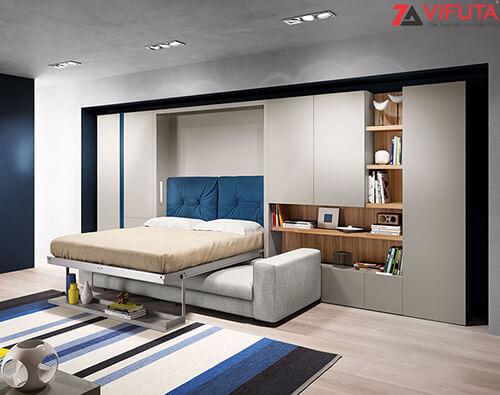 Giường gắn tường dạng dọc phù hợp với phòng trần cao, lòng rộng rãi