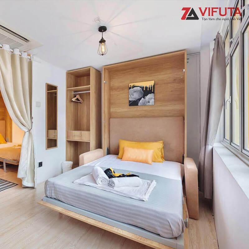 Giường ngủ kết hợp Sofa nỉ màu vàng 333.V150SX linh hoạt chuyển đổi công năng sử dụng