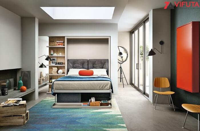 Giường gắn tường dọc cho căn hộ trần cao và lòng rộng
