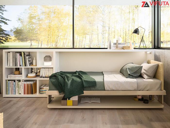 Giường gắn tường kết hợp bàn H900 – 333.H090DX ở trạng thái mở
