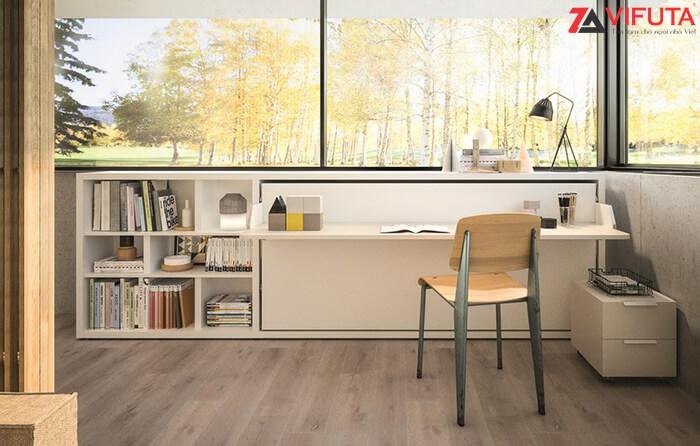 Giường gắn tường kết hợp bàn H900 – 333.H090DX khi ở chức năng bàn học