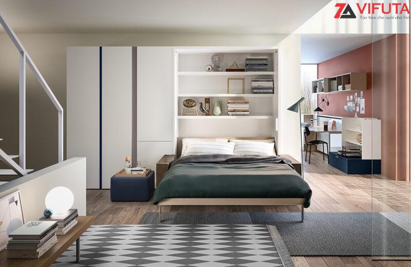 Chỉ với vài thao tác là có thể chuyến đổi từ không gian đón tiếp khách khứa thành không gian ngủ nghỉ