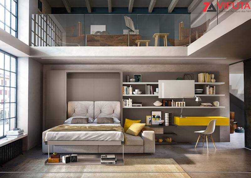 Bộ giường ngủ kèm sofa và giá đựng sách
