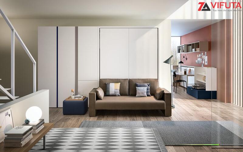 Vẻ đẹp hiện đại của phòng khách sử dụng giường kết hợp sofa