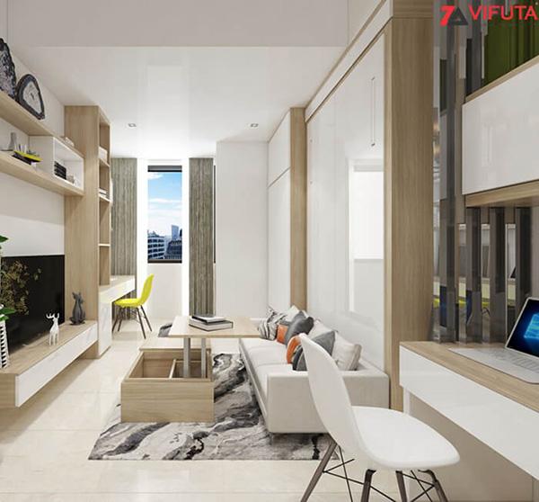 Thiết kế phòng khách sử dụng bàn trà thông minh 554.12290