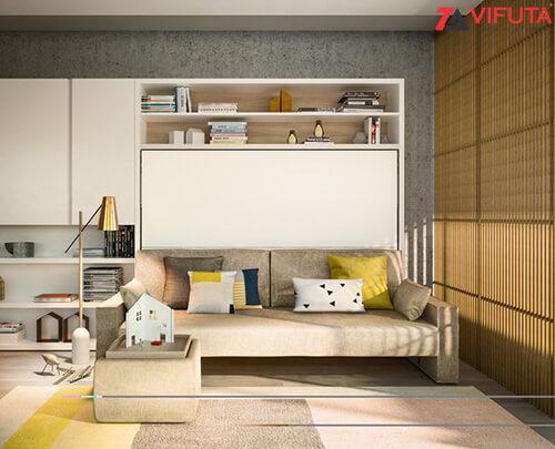Bộ giường gắn tường kèm sofa sang trọng hiện đại