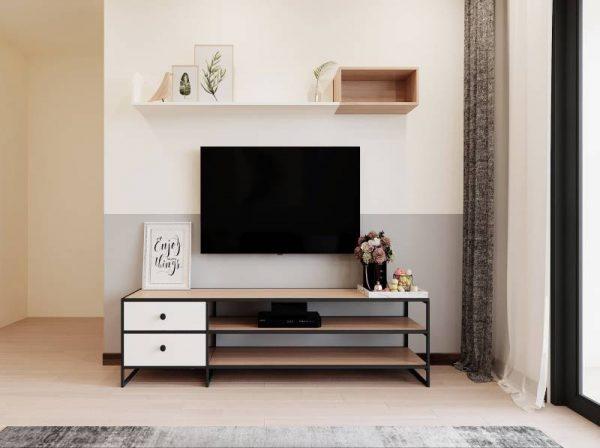 Kệ tivi kết hợp kệ trang trí phòng khách đẹp hiện đại – 556.20204