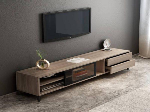 Kệ tivi kết hợp tủ trang trí chân sắt gỗ công nghiệp đẹp – 556.20220