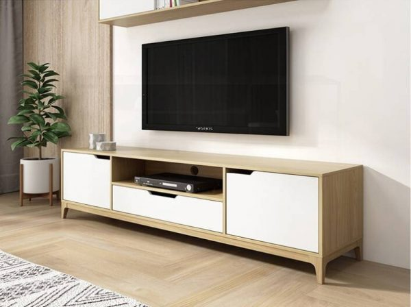 Kệ tivi đơn giản nhỏ gọn đẹp màu trắng và vân gỗ – 556.18280